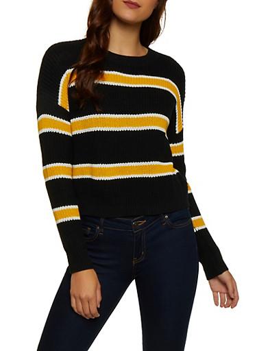 Striped Long Sleeve Sweater | 3020054261490,BLACK,large