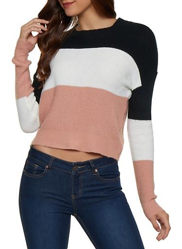 Color Block Crew Neck Sweater,BLACK,large