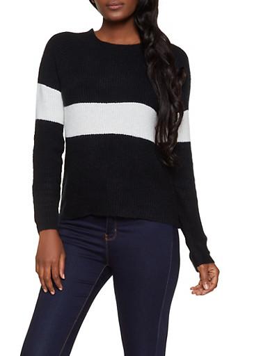 Crew Neck Stripe Detail Sweater,BLACK,large