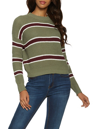 Striped Ribbed Knit Sweater,GREEN,large