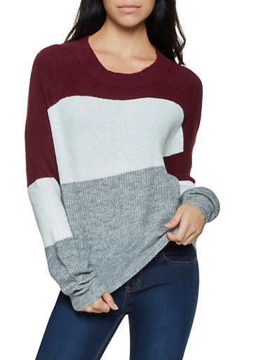 Color Block Long Sleeve Sweater,BURGUNDY,large