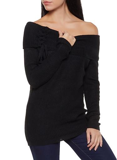 Fold Over Off the Shoulder Sweater,BLACK,large