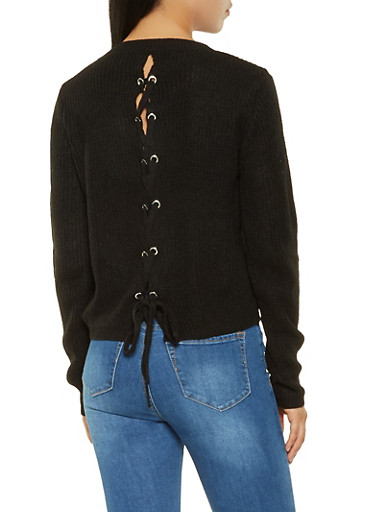 Lace Up Back Sweater,BLACK,large