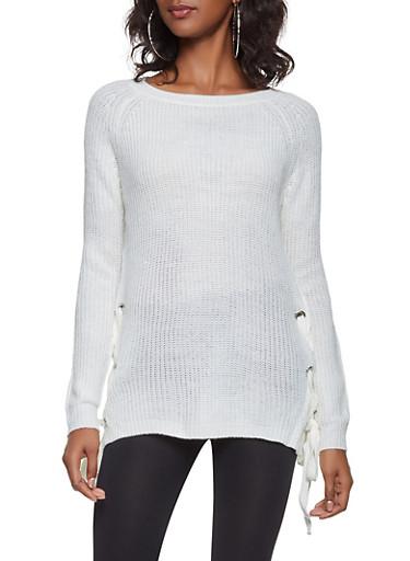 Lace Up Side Sweater,IVORY,large