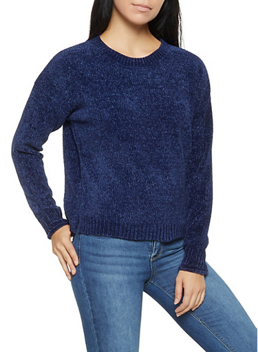 Crew Neck Chenille Sweater,NAVY,large