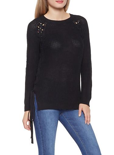 Lace Up Crew Neck Sweater,BLACK,large