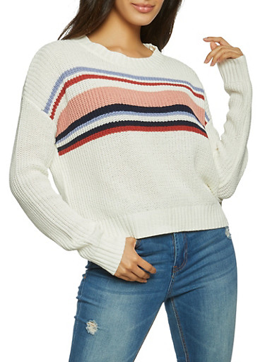 Striped Long Sleeve Sweater,IVORY,large