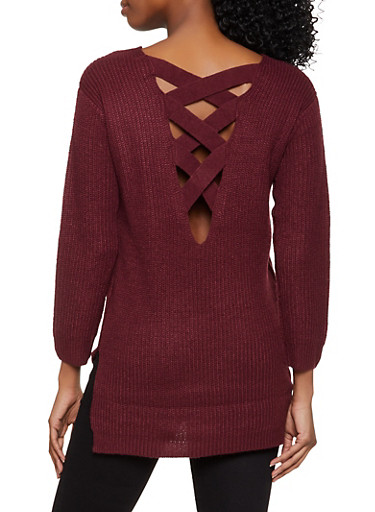 Lace Up Back V Neck Sweater,BURGUNDY,large