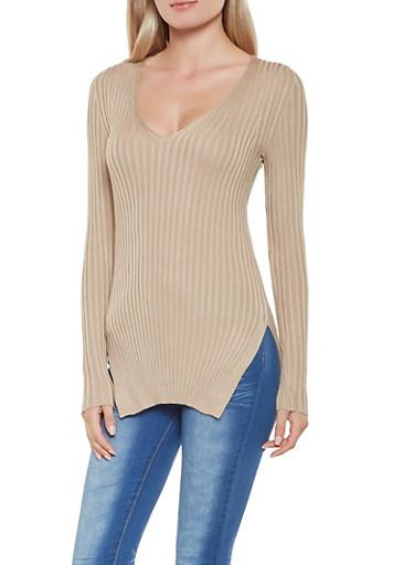Rib Knit Sweater,KHAKI,large
