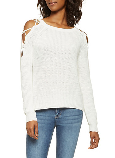 Lace Up Cold Shoulder Sweater,IVORY,large