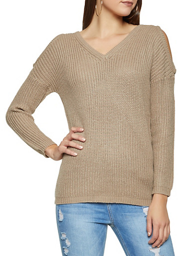 Cold Shoulder Sweater,KHAKI,large