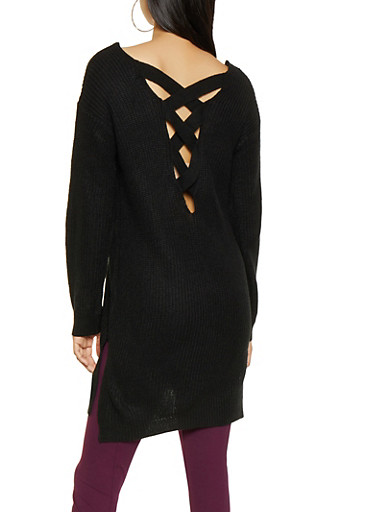 Caged Back Sweater,BLACK,large