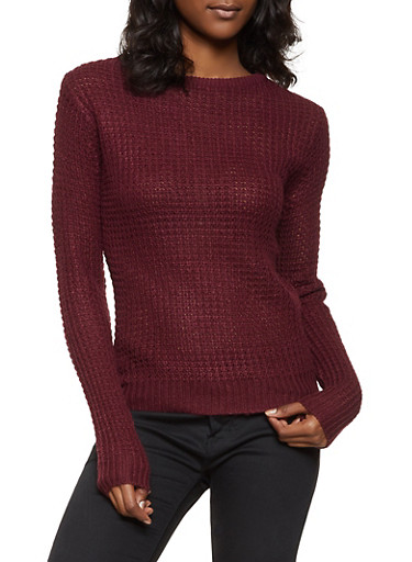 Lace Up Back Waffle Knit Sweater,WINE,large
