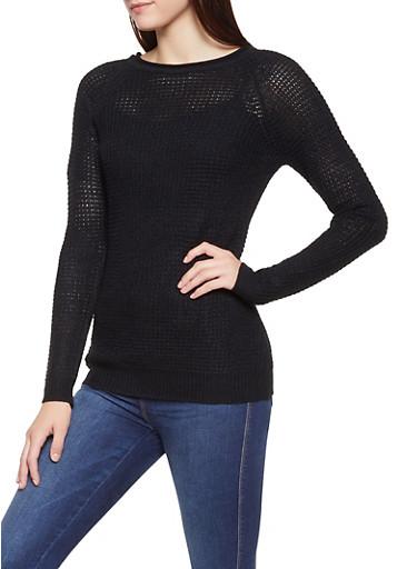 Waffle Knit Sweater,BLACK,large