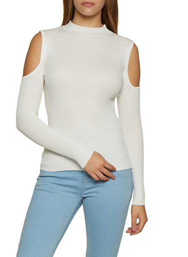 Ribbed Mock Neck Cold Shoulder Top,IVORY,large