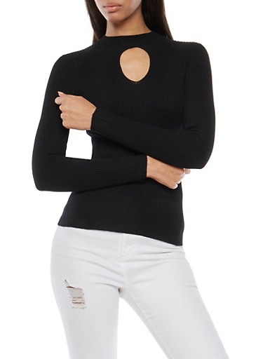 Ribbed Knit Keyhole Sweater,BLACK,large