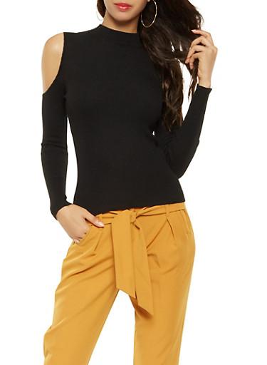 Cold Shoulder Sweater,BLACK,large