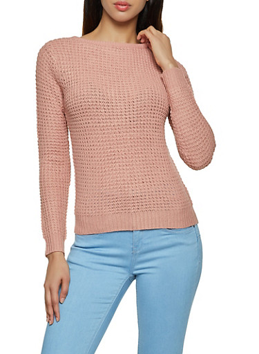 Caged Back Crew Neck Sweater,MAUVE,large