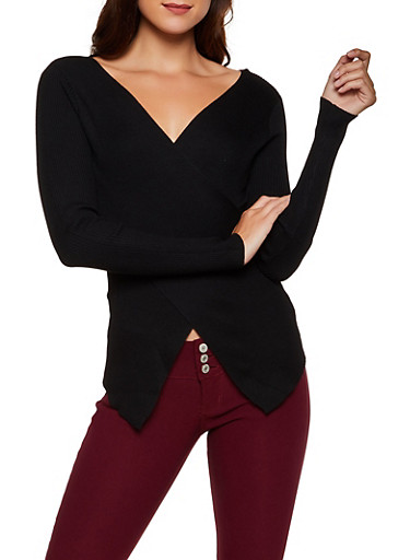 Ribbed Faux Wrap Sweater | 3020058750230,BLACK,large