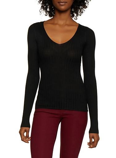 Lace Up Back Rib Knit Sweater,BLACK,large