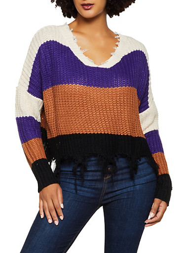 Frayed Striped Sweater,NATURAL,large