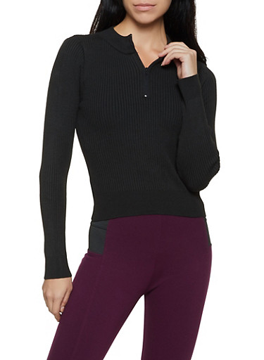 Zip Neck Ribbed Sweater,BLACK,large