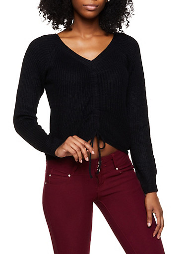 Drawstring Front Sweater,BLACK,large