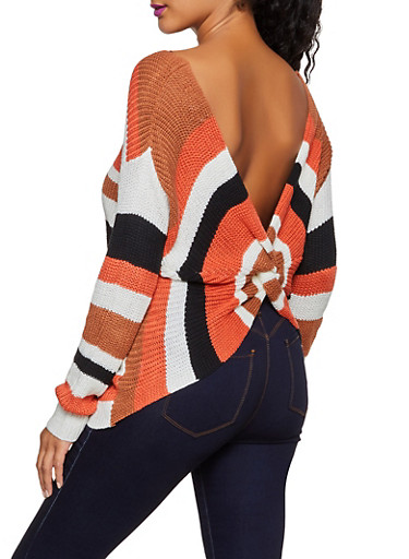Striped Twist Back Sweater | 3020058750321,RUST,large
