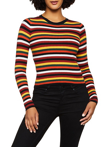 Striped Crew Neck Sweater,RUST,large