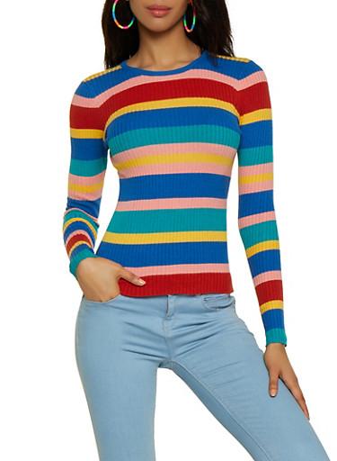 Striped Crew Neck Sweater | 3020058750329,RYL BLUE,large