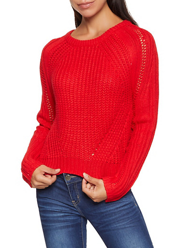 Long Sleeve Knit Sweater,RED,large