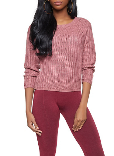 Solid Knit Sweater,PINK,large