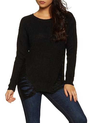 Distressed Tunic Sweater   3020074051465,BLACK,large