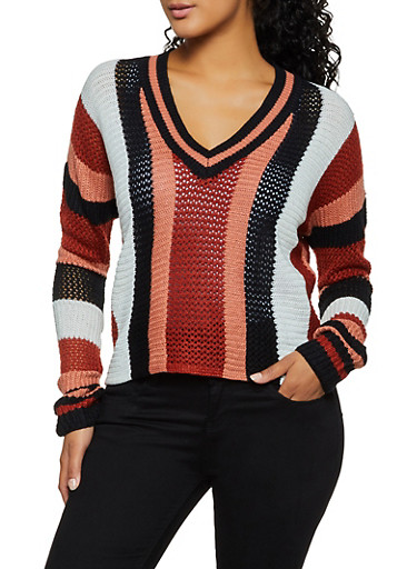 Vertical Stripe Pointelle Sweater,IVORY,large