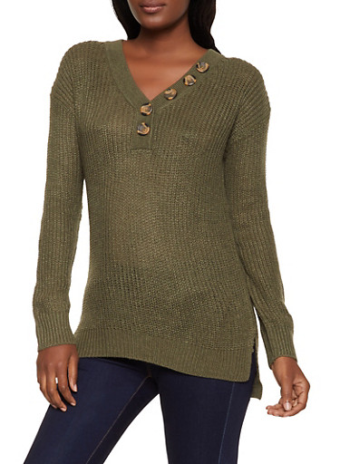 V Neck Button Sweater,OLIVE,large