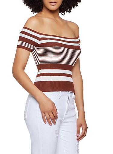 Variegated Stripe Off the Shoulder Top,BROWN,large