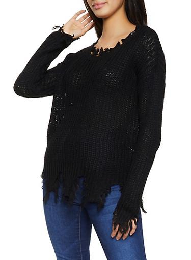 Crew Neck Frayed Sweater,BLACK,large