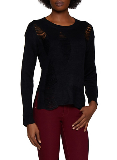 Slashed Long Sleeve Sweater,BLACK,large