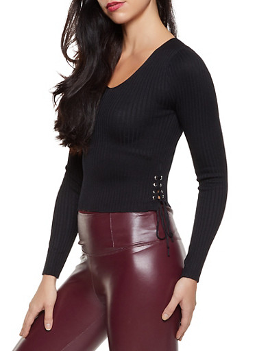 Ribbed Lace Up Side Sweater,BLACK,large