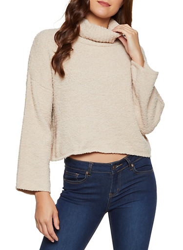 Plush Turtleneck Sweater,BEIGE,large