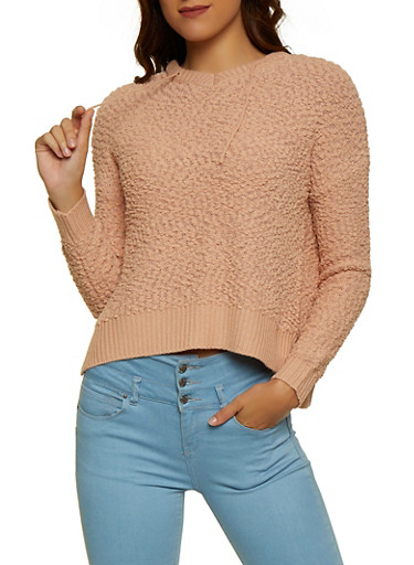 Popcorn Knit Hooded Sweatshirt,ROSE,large