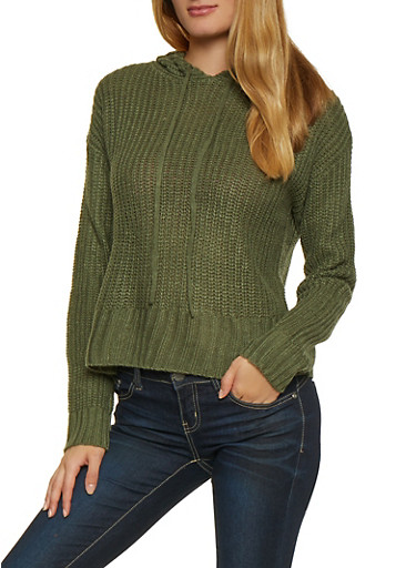 Knit Hooded Sweater,OLIVE,large