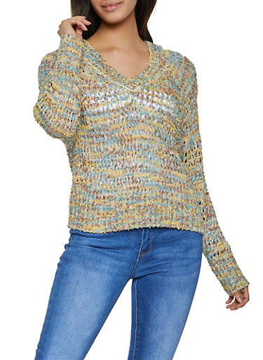 V Neck Popcorn Knit Sweater,GREEN,large