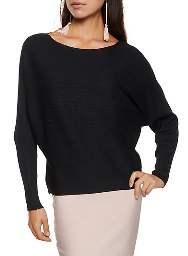 Boatneck Dolman Sleeve Sweater,BLACK,large