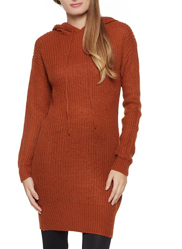 Hooded Knit Tunic,COPPER,large