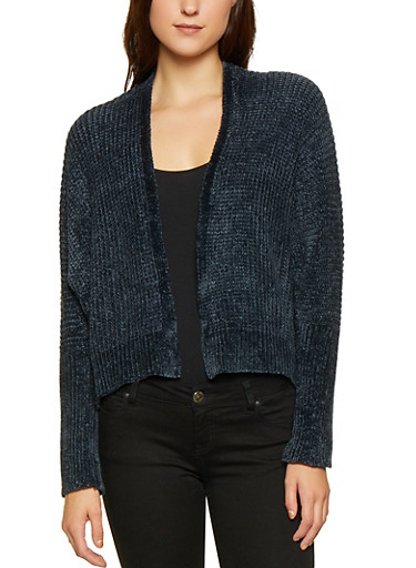 High Low Open Front Cardigan,BLACK,large