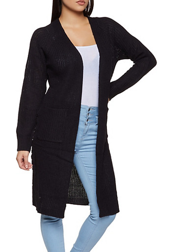 Lace Up Side Knit Duster,BLACK,large