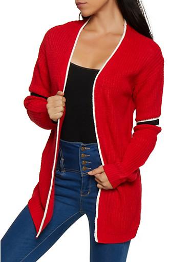Striped Detail Knit Cardigan,RED,large
