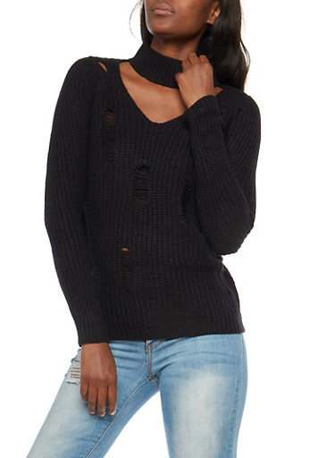 Ripped Choker V Neck Sweater,BLACK,large