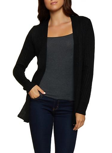 Open Front Long Sleeve Cardigan,BLACK,large
